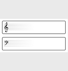 Bass and treble clef web buttons vector