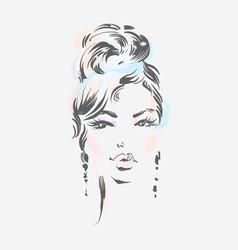 Beautiful woman wearing earrings vector