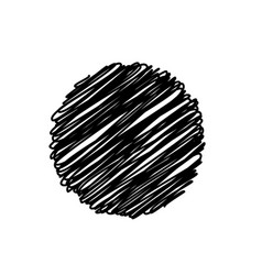 black abstract circle sketchy scribble background vector image