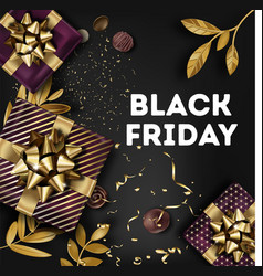black friday banner with presents and gold leaves vector image