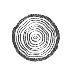 Black scribble tree ring vector