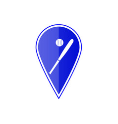 Blue map pointer with baseball ball vector