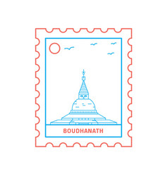 boudhanath postage stamp blue and red line style vector image