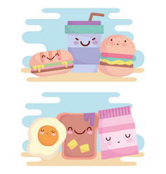 burger sandwich egg bread menu character cartoon vector image