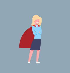 Business woman wearing red hero cape businesswoman vector