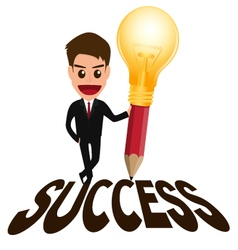 Businessman successful concept and lightbulb penci vector image