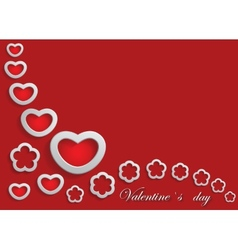 Card for Valentine Day on a Red Background vector image