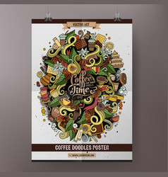 Cartoon colorful hand drawn doodles coffee poster vector