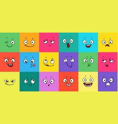 cartoon expression faces comic emoji emotions vector image