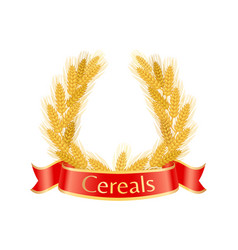 Cereal wheat wreath poster vector