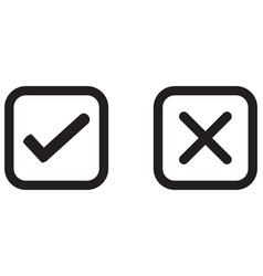 check mark wrong mark black icon vector image