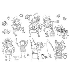 Childrens coloring - pirates different vector