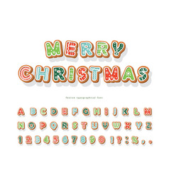 Christmas gingerbread cookie font hand drawn vector