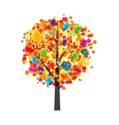 Color Glossy Balloons Tree Background Happy vector image