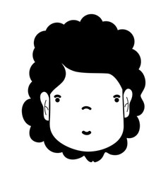 Contour woman face with hairstyle and expression vector