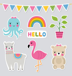 cute animal stickers set vector image