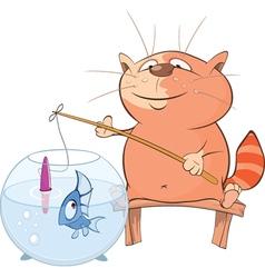 Cute Cat Fisherman Cartoon vector image