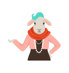 Cute fashion sheep girl character hipster animal vector