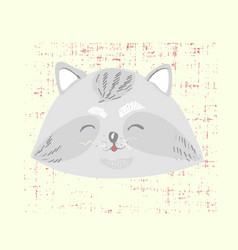 cute scandinavian style card with cute racoon vector image