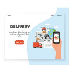 delivery website landing page design vector image