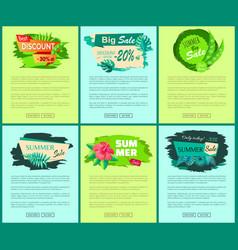 discounts posters concept summer sale emblems set vector image
