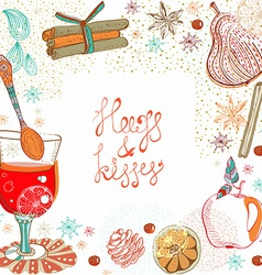 Doodle background with mulled warm wine vector