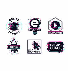 e-learning emblem set internet study concept vector image