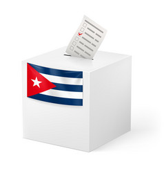 election in cuba ballot box with voicing paper vector image