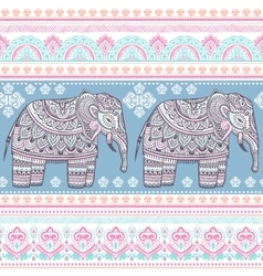 ethnic indian bohemian style elephant seamless vector image