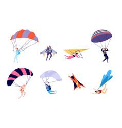 extreme sports recreation parachute sportsman vector image