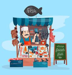 fish shop kiosk street retro shop store vector image