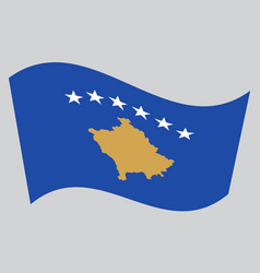 Flag of kosovo waving on gray background vector
