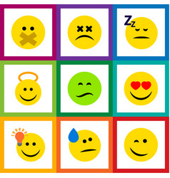 Flat icon face set of frown love winking and vector