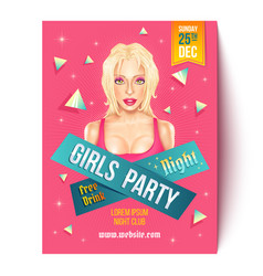 flyer for girls party vector image
