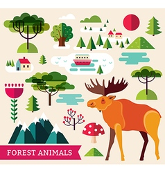 Forest animals - elk vector image
