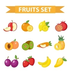 Fruit set Fruits icon flat vector image