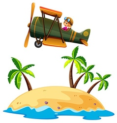 Girl flying airplane over the island vector