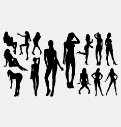girl woman female sexy pose silhouette vector image
