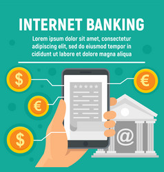 global internet banking concept banner flat style vector image