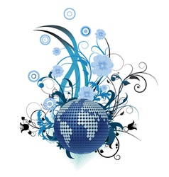 Globe with floral vector