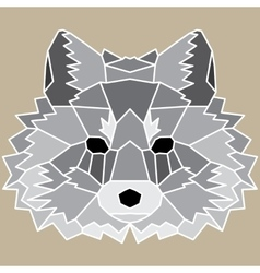 Gray low poly lined fox vector