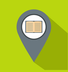 Gray map pointer with book icon flat style vector