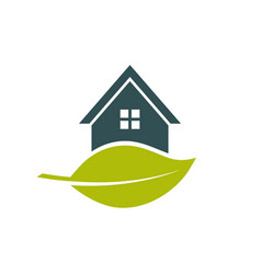 green house leaf logo vector image