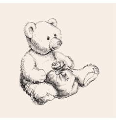 Hand drawn bear toy vector image