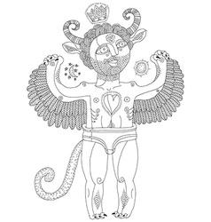 Hand drawn graphic monochrome of weird creat vector