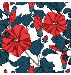 hand drawn line sketch flowers hibiscus vector image