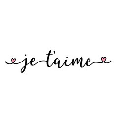 Handwritten quote je taime as banner in french vector