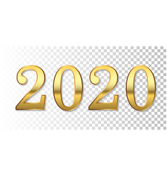 Happy new year 2020 gold 3d number isolated white vector