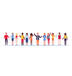 happy people group holding raised hands mix race vector image