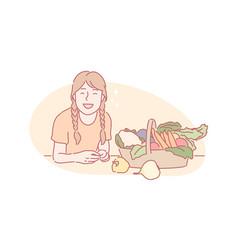 Harvesting eco vegan food concept vector